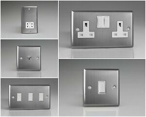 Varilight Classic Brushed Steel Range - White Inserts & White Switches