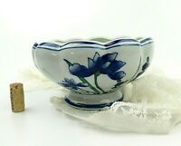 Fine Pottery Pedestal Planter Blue & White Floral Design AAA Imports Decoware