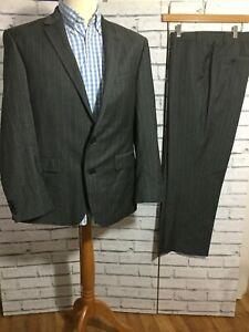Next Men's Grey Pinstripe London Suit 42S W36S X L29.5