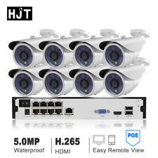 HJT 8CH H.265 POE 5MP IP Camera System CCTV Security Outdoor Night Vision Onvif