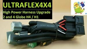 Negative Switching conversion Headlight Wiring UPGRADE Harness 4 X H4 H1Sockets