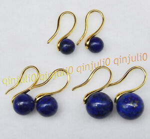 Natural 6mm 8mm 10mm Blue Lapis Lazuli Round Gemstone Dangle Gold Hook Earrings