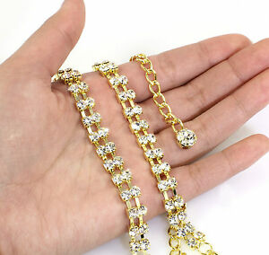 Gold Belt or Belly Chain with 2 Rows Crystal