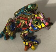 """Barcino """"Carnival"""" Frog Rainbow Multicolored Mosaic w/Gold 8cm Or 3.1"""" Figurine"""