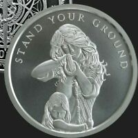1 oz silver Stand Your Ground .999 Pure COA BU Women girl NRA firearms limited