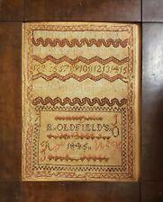 ANTIQUE 1845 STITCH WORK SAMPLER SNAKE PATTERN OLDFIELD'S IL MIDWEST FOLK ART OK