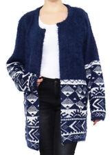 Gilet Long Cardigan Femme Oversize Pull Tricot Effet Mohair Automne J0101 Bleu