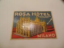 Vintage ROSA HOTEL, MILANO (Milan) luggage label decal 1933