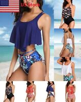Women High Waist Bikini Set Push Up Padded Bra Swimsuit Bathing Suit Swimwear