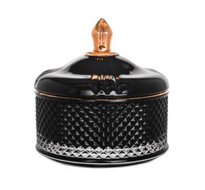 Diamond 24K Gold Rim Glass Jewelry Decorative Box Gift Color Black Set of 2
