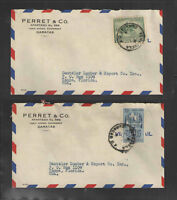 1950s x2 PARRET & CO CARACAS VENEZUELA ADVERTISING COVERS Scott # 461 / C343