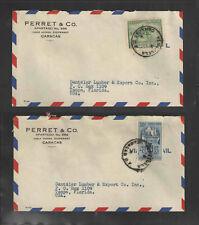 1950s x2 PARRET & CO CARACAS VENEZUELA ADVERTISING COVERS Scott # 461 / C343