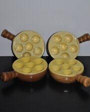 Lot 4 plat Poelons Escargots 6 Trous MADE IN FRANCE Céramique Beige Crème