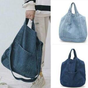 Womens Canvas Denim Satchel Shoulder Crossbody Bag Large Creative Tote Beach Bag