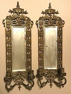 PAIR Ornate Rococo Bronzed Brass Victorian Mirror Wall Sconces Candleholders