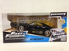 FAST FURIOUS 7 DOM'S, 1970 DODGE CHARGER R/T, 1:24 DIE CAST, JADA TOY BLACK WB