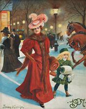 Jenny Nystrom Elegant Lady Christmas Shopping Canvas Print 16 x 20     #4555
