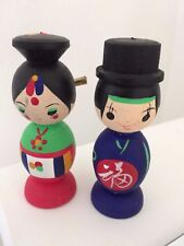 "BRIDE GROOM COUPLE  3 3/4"" WOOD CARVED KOREAN FIGURES BOLD COLORS HAND PAINTED"
