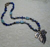 VINTAGE SODALITE & AQUA BLUE STONE BEADED LEAF PENDANT NECKLACE 20 INCH