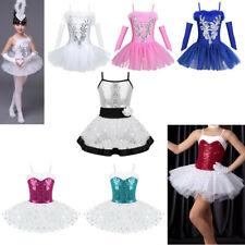 Ballerina Girls Costume Ballet Dance Dress Sequined Kids Leotard Swan Dancewear