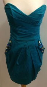 LIPSY Ladies Green Turquoise Strapless Fitted Dress Size 8 Embellished Pockets