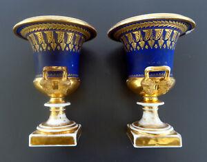 Paire vases Médicis porcelaine Paris époque Empire bleu Sèvres doré or fin, 19,5