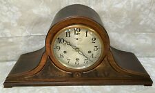 Antique New Haven Tambour Mantel Clock Mahogany Case Runs & Strikes Westminster
