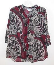CB Collections Plus 2X Blouse Shirt Top CoverUp SemiSheer RedCreamBlack Print 3X
