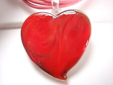 Deep Red Swirling Large Ceramic Heart Necklace Valentines Love Gift Reversible