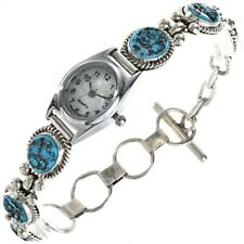 Navajo Made Turquoise Silver Adjustable Link Watch Bracelet