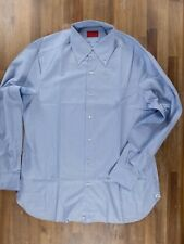 ISAIA Napoli solid blue button-down cotton shirt authentic - Size 45 / 18 - NWOT