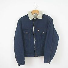 Vintage LEVIS Rare Orange Tab Blue Denim Sherpa Jacket Coat | Strauss | Large L