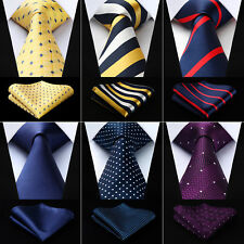"Hisdern Polka Dot Solid 3.4""Silk Mens Tie Extra Long Necktie Handkerchief Set#Q9"