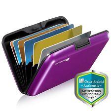 Aluminio Delgado 8 Ranura Bloqueo de RFID titular de la tarjeta de bolsillo delantero Minimalista [Púrpura]