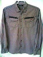 DIESEL Mens Western Plaid Pearl Snap Cowboy Cotton Shirt with Zippers XL, 2XL
