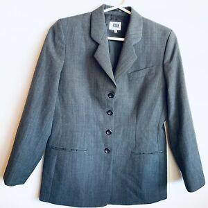 Fletcher Jones Grey Single Breasted Wool Blazer Size 12 Office Formal Business