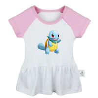 Bulbasaur Squirtle Pattern Newborn Baby Dress Toddler Infant 100% Cotton Clothes