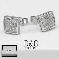 6mm Square Studs Earring Unisex.Box Dg Men's Sterling-Silver 925.Ice-Out Cz