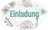 20 oval Aufkleber Einladung Etikett Sticker Deko Gast-Geschenk Fest türkis