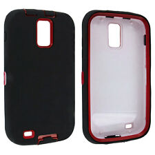 Black / Red Hybrid Hard Case Cover for Samsung Galaxy S II Hercules T989
