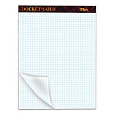 """TOPS Docket Gold Graph Pads, 8-1/2"""" x 11-3/4"""", 4 x 4 Graph with Narrow Rule 80"""