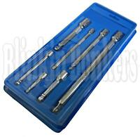 """7PC SOCKET WRENCH WOBBLE BAR EXTRA LONG EXTENSION TOOL SET 1/4"""" 3/8"""" 1/2"""" DRIVE"""