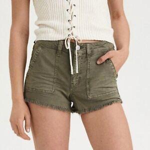 American Eagle Hi-rise Festival Olive Green jean shorts raw hem Size 2