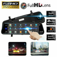 10'' HD 1080P Dual Lens Video Recorder Rearview Mirror Car Dash Cam Camera DVR