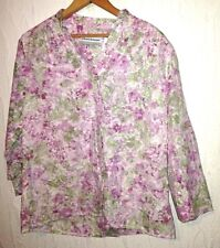 ALFRED DUNNER purple green floral top womens size petite 6P