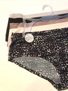 NWT 5Pack Danskin Boyshorts Hipster Panties NoShow SizeL Pattern Black Pink Gray