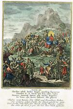 """Luyken's """"Historia"""" - """"JESUS PREACHING TO MULTITUDES"""" - Hand-Colored Eng. -1712"""