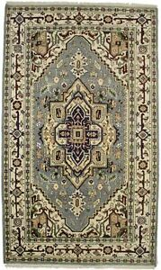 Hand-Knotted Gray Geometric Design 5X8 Heriz Serapi Oriental Rug Wool Carpet
