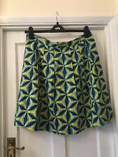 New Lily & Me Yellow & Blue Vintage Look Linen Mix Skirt,16