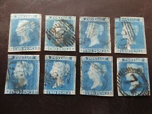 LOT 9 - GB - QV 2d BLUES, IMPERF, USED - SEE DESCRIPTION!!!
